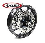 Arashi Llantas de rueda delantera y Rotores de disco de freno para YAMAHA YZF R1 R1M R1S RN32 2015 2016 2017 Accesorios para motocicletas YZF-R1 YZF-RN32 Negro brillante 15 16 17