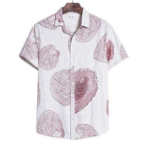 Camisas de Manga Corta para Hombre Camisas de Solapa con Botones Informales y Transpirables holgadas y cómodas con Estampado de Anillo Anual a la Moda X-Large