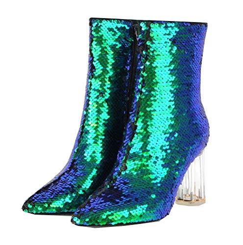 SHEMEE Damen Glitzer High Heels Stiefeletten Ankle Boots mit Blockabsatz und 8cm Absatz Pailletten Hochzeit Braut Schuhe(Grün,39)