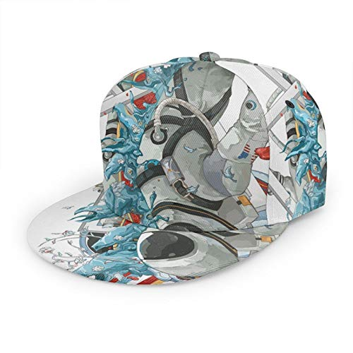Gorra de béisbol plana 3D Cool Astronaut Monster Flower Flat Brim Ajustable Snapback Caps Sport Dad Hat Trucker Sombreros para hombres y mujeres negro