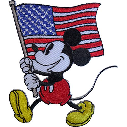 ELLU Disney Mickey Mouse USA Flag Patch United States of America Iron Sew On Badge