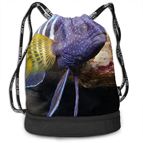 Kordelzug-Rucksack mit violettem Fischmotiv, Sporttasche, Reiserucksack