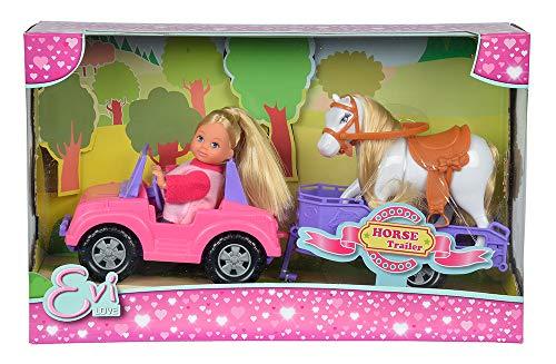 Simba 105737460 - Evi Love Evi Horse Trailer / mit rosa Jeep / lila Pferdeanhänger und Pony / Ankleidepuppe / 12cm, für Kinder ab 3 Jahren