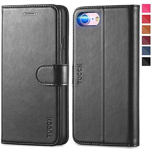 TUCCH iPhone 8 Hülle, iPhone 7 Schutzhülle, Handyhülle [Schützt vor Stößen] [Aufstellfunktion] [Kartenfach] [Lifetime Garantie], TPU Lederhülle Kompatibel für iPhone 7/8 (4,7 Zoll) Klassisches Schwarz