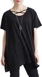 [ゴールドジャパン] 大きいサイズ レディース トップス カットソー Tシャツ ロング 半袖 変形 クロスネック 伸縮