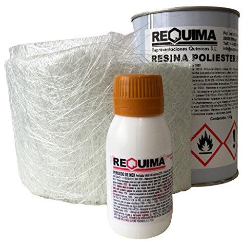 Kit Reparación de Poliester 1kg (1kg resina + 1m2 Mat-300 + 25grs catalizador)