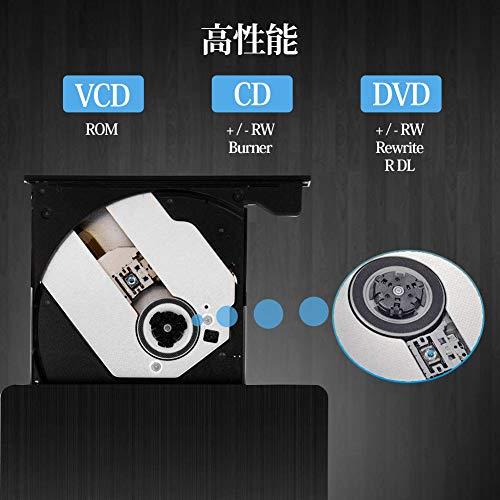 『U-miss dvdドライブ 外付け USB3.0 ポータブルCD DVD-RWドライブ スリムタイプ 読取・書込 Windows/Mac OS対応 書き込み 超薄型』の5枚目の画像