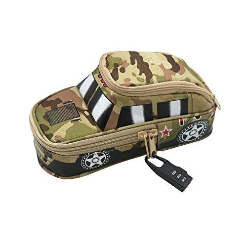 Federmäppchen Große Kapazität camouflage Federtasche als Geschenken Geländewagen Modell mit Zahlenschloss Aufbewahrungstasche mehrfunktional Schlamper-Etui für Büro,Jungen,Gelb
