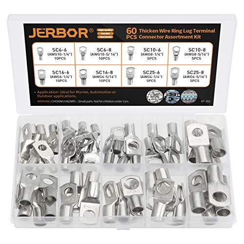Jerbor 60tlg Rohrkabelschuhe Kabelschuhe Set Verzinnt Kupfer Ringkabelschuhe 6mm² 10mm² 16mm² 25mm² Kabelschuh Quetschverbinder, M6 M8 mit 8 Größe
