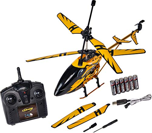 Carson Easy Tyrann Hornet 350 500507139 - Helicóptero teledirigido (2,4 GHz, Incluye Pilas y Mando a Distancia, 100% Listo para Volar), Color Amarillo