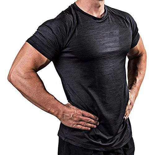 Wygwlg AST-Drying T-Shirt für Herren im Fitnessstudio Bodybuilding Kurzarm-Fitnessstudio-Kleidung Atmungsaktive, Enge Trainingsoberteile mit hoher Elastizität,Black-L