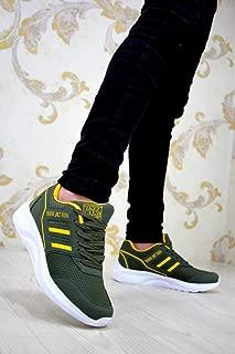 Erkek Spor Haki Yeşil - A466 Kalın Taban Siyah Spor Ayakkabı