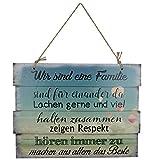 Woodpassion Wandschild Familienregeln Schild Dekoschild