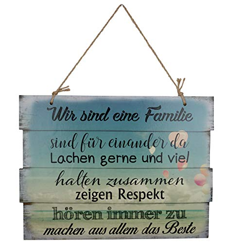 Woodpassion Wandschild Familienregeln Schild Dekoschild Hausregeln Spruch Wandbild Hausordnung Regeln 30x40 cm