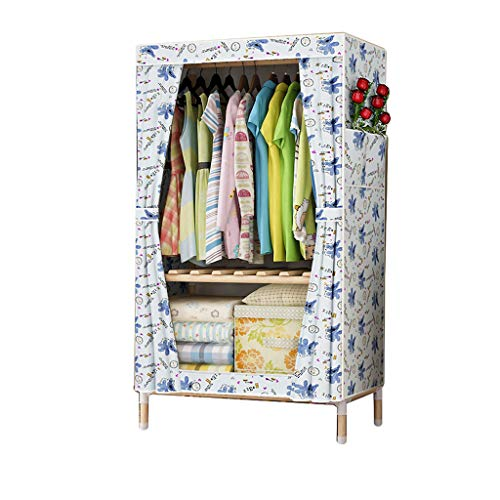 Robust Einfacher Kleiderschrank aus massivem Holz Oxford Stoff Schrank faltender zerlegbarer tragbarer Kleiderschrank Bequem (Color : C)