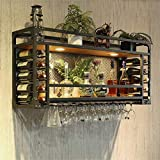 AERVEAL Rustic Wall Mounted Champagne Glass Rack 2 Tiers Red Wine Glasses Holder Holds Any Type of Stemware Glassware Wine Glasses and Flutes Rack,60Cm(23.6In),60Cm(23.6In)