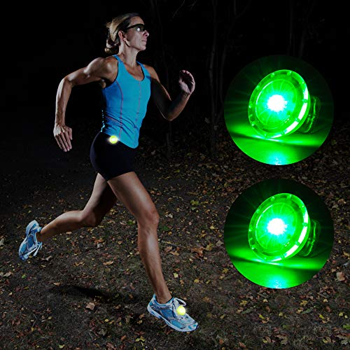 MapleSeeker LED Safety Light with Batteries Included, Clip On Running Light for Runners, Strobe Light with High Visibility for Running|Cycling|Hiking|Dogs|Kids, Safety Reflector Gear (2-Pack Green)