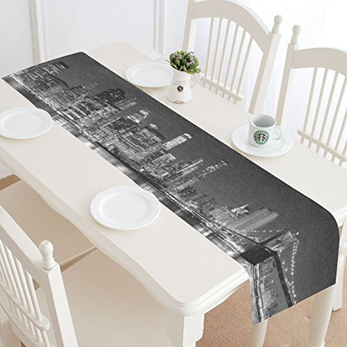 InterestPrint New York Skyline Table Runner Home Decor 14 X 72 Inch, Mondern Cityscapes Table Cloth Runner for Wedding Party Banquet Decoration