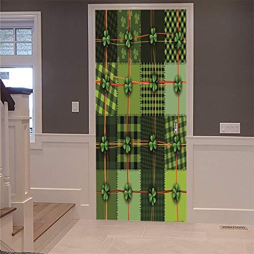 Tür Wandbild Aufkleber 3D DIY Renovierung Tapete Vintage halb bedeckte Holztür Picknick Home Decor Innentür Foto Removable selbstklebend 77x200cm
