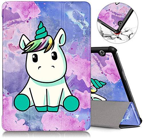 ZhuoFan Funda Huawei Mediapad T5 10, Cárcasa Cuero PU Silicona Magnetica Función de Soporte y Auto-Desbloquear Cover Protector Piel Compatible con Huawei Mediapad T5 10.1 Pulgadas Tablet, Unicornio