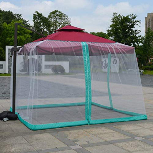 HYLH Garden Mosquito Cover Patio Umbrella Netting with Zipper Opening Prevent Wind and Fix for Gazebos Parasols