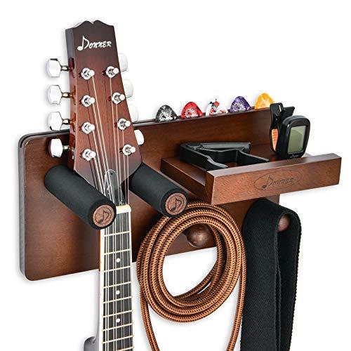Donner Wandhalterung Gitarre Hölzerner Gitarrenhakenhalter, Gitarrenhalter Wand mit Picks-Halter und 2 Haken für Ukulele Violin und Bass E-Gitarren Akustisches und Gitarrenzubehör