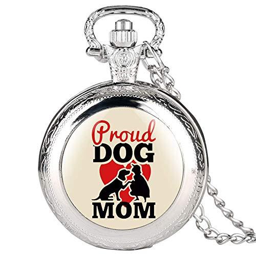 WYZQ Sliver Dog Mom Series Reloj de Bolsillo para Mujer Relojes de Bolsillo Elegantes para Mujer Reloj Colgante clásico Cadena de eslabones para Damas, Reloj de Bolsillo