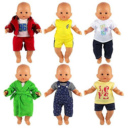 Miunana 6 Ensembles Tenues colorees pour Poupée Poupon Vêtements Mignons à La Main pour Poupée Corolle ou Poupée Poupon de 36 CM