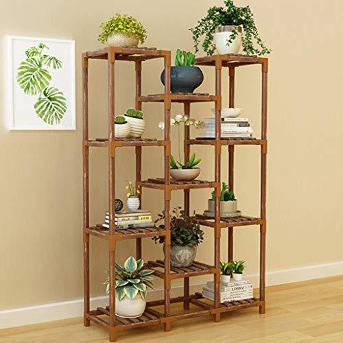 G-HJLXYZWJHOME Plantenrek, meerdere lagen, van hout, bloemenstandaard, binnen en buiten, meertraps, voorgerechten, opslagrek