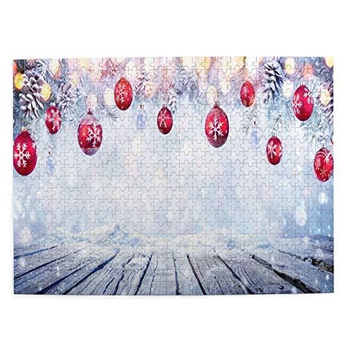Starodec Adulto 500 Piezas Juego de Rompecabezas Mesa de Navidad con Bolas Rojas para Colgar Snowy Juguetes Educativos para Niños Decoración hogareña