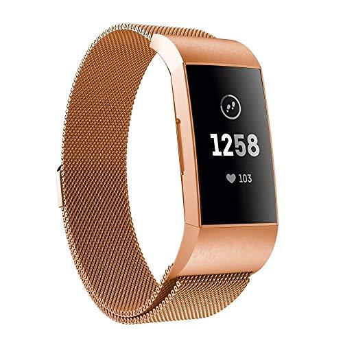 YANTAIAN Uhren Zubehör for Fitbit Charger 3 Metall magnetischen Metalluhrenarmband (schwarz) (Farbe : Rose Gold)