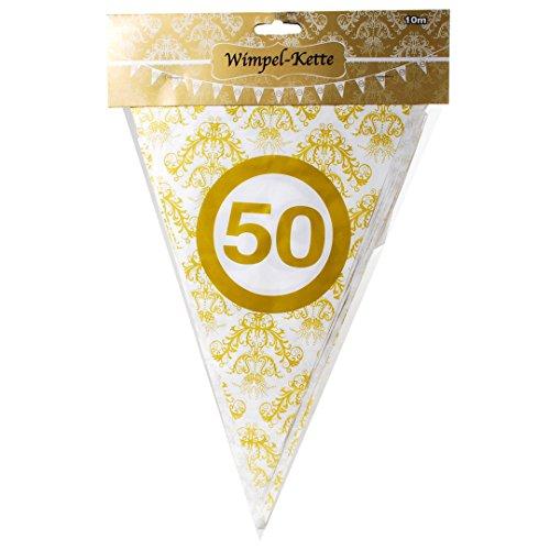 Wimpelkette 50 Goldhochzeit Ornamente, ca. 10 Meter