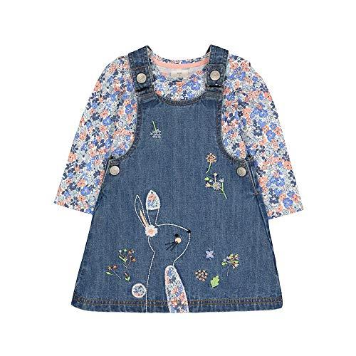 Mothercare Baby-Mädchen Mg Fm Denim Bunny Pinny/ls AOP Tee Set T-Shirt, Schwarz (Blue 128), 18-24 Months (Size:92)