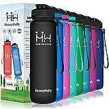 HoneyHolly Borraccia Plastica 1000 ml Bottiglia Acqua 1 litro Senza BPA Trasparente Riutilizzabile Grande Borraccia Palestra con Beccuccio e Filtro per Yoga, Ciclismo, Escursione-Tappo Flip Top