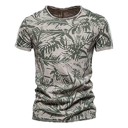 Camiseta Hombre Casual Transpirable con Estampado Mode Hombre De Manga Corta Verano Delgado Cuello Redondo Hombre Manga Corta Entrenamiento Deportivo Hombre Elástico F-Green 1 S