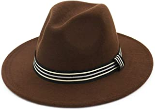Bin Zhang Fashion Men Women Fedora Hat With Striped Satin Jazz Pop Hat Outdoor Casual Hat Size 56-58CM