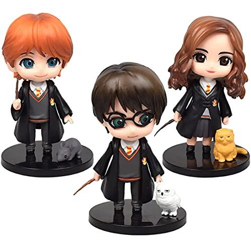 Mini Figuren Set - Miotlsy 3 Stück Harry Potter Mini Figuren Geburtstags Party liefert Wizard Cupcake Figuren Party Kuchen Dekoration Cake Topper Lieferungen