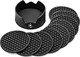 Premium Quality Drink Coasters, Set of 9 Black Coasters & A Holder, For All...