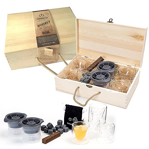 Clydescot GLASGOW - Ensemble cadeau Whisky de 21pièces - 12 Cubes Glaçons en Granit Réutilisables pour Garder les Boissons Froides sans Diluer + 4 Verres à Whisky forme Crâne 75ml + 2 Moules de Sphères Glacées Géantes de 2.5 à Fonte Lente + Bâtonnet aromatisant de chêne brûlé et fumé pour whisky + Une Belle Boîte Cadeau en Bois Travaillé à la Main.