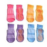 Esaroll Anti Skid Socks Toddler Girl 3 to 5 Years Trampoline Socks for Kids Bulk 4 Pairs Pink Yellow Blue Purple
