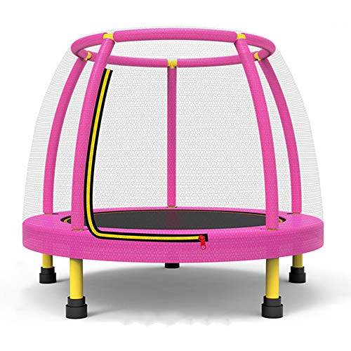 QXTT Trampolines For Kids 4ft Trampoline With Safety Net Enclosure Trampoline For Children Jumping Training Indoor Outdoor Activities Max Load 250kg,Pink