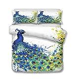 Bettbezug Bettwäsche Set, Morbuy 3D Eleganter und Edler Pfau Drucken Mikrofaser Weiche Bettwäsche-Set mit Reißverschluss Bettbezug und Kissenbezüge (135x200cm-2pcs,Aquarell Pfau)