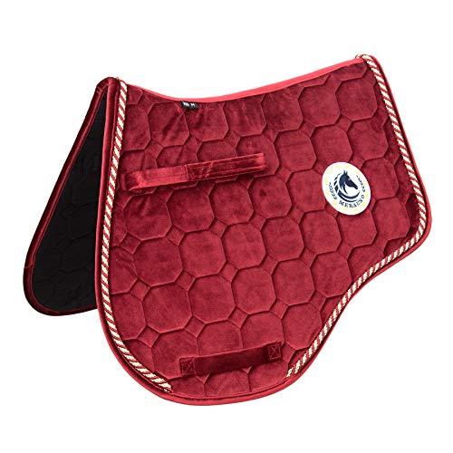 Merauno® Schabracke Velvet Dressur Schabracke Springen Satteldecke Schnelltrocknende Baumwolle Hochwertiges klassisches Design(VSS: M-53 * 50cm(L*B), Rot)