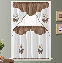 Butterfly Applique. 3pcs Swag Valance and Tiers Set. Big Butterfly Applique of Print Fabric and Matching Color Embroidery of Rose and Butterfly Combination. (Cinnamon Ripple)
