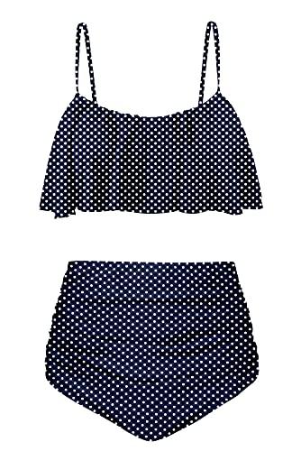 Angerella High Waisted Swimsuits for Women Best Tummy Control Swimwear Bikini Set,S
