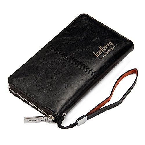 Uomini Portafoglio in pelle, Tezoo Uomo Frizione con Zip Checkbook Copre tasca della moneta portamonete e porta carte di credito per frizione per affari Vintage Purse lungo Nero