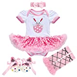 Newborn Baby Toddler Girl 1st Easter Rabbit Romper Tutu Dress+Headband+Leg Warmers Shoes Outfits 3pcs/4pcs Cotton Clothes Set 4pcs Pink Rabbit Bunny 0-3 Months