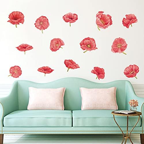decalmile Pegatinas de Pared Amapola Roja Vinilos Decorativos Flores Acuarela Adhesivos Pared Dormitorio Salón Habitacion Fondo TV