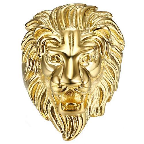 BOBIJOO JEWELRY - Anillo Anillo Anillo de Hombre de Cabeza de León Gitana Gitana Circo Chapado en Oro de Acero de Plata-Tono - 24 (11 US), Dorado - Acero Inoxidable 316