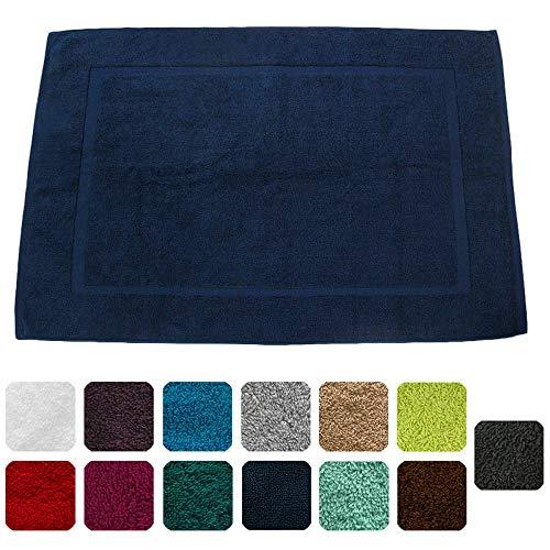 Lanudo, lussuoso tappettino da bagno, 900g/m², linea Pure Line, 60x 90 cm, con bordature,100% spugna cotone di altissima qualità, tappeto da bagno, in spugna blau